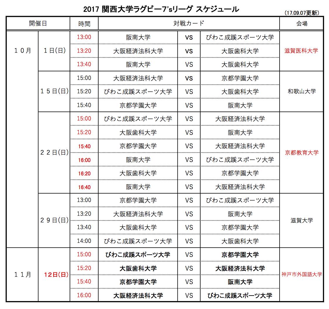 2017大学リーグ日程表7s