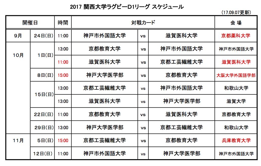 2017大学リーグ日程表D1