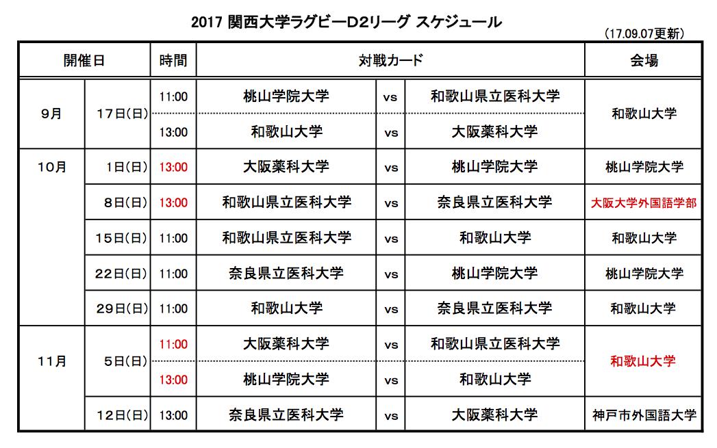 2017大学リーグ日程表D2